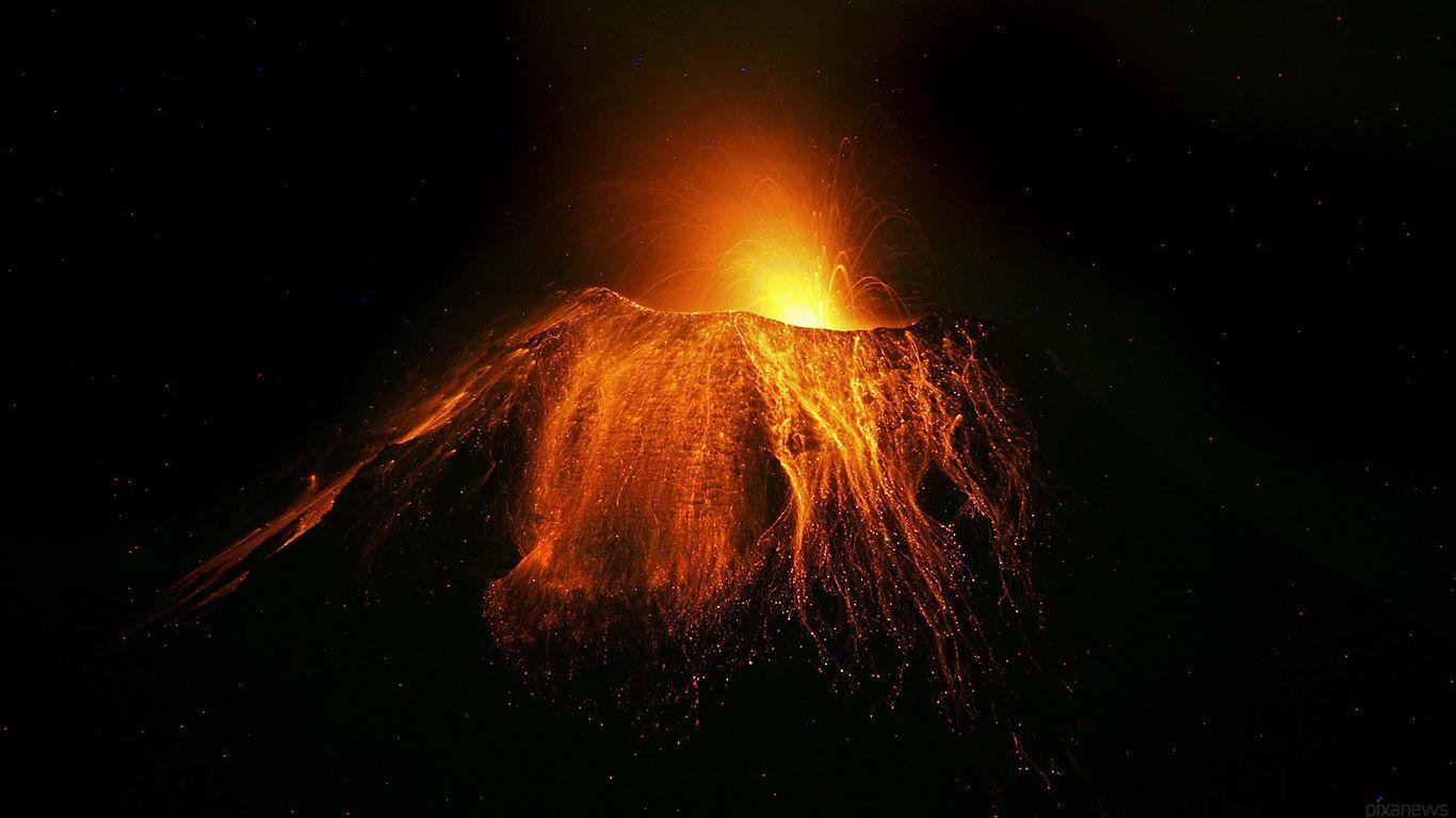 Извержение.Вулкан Сангай