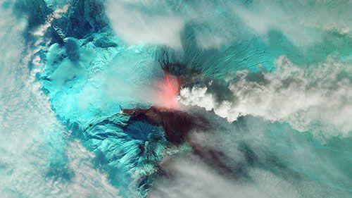 извержение вулкана по GPS
