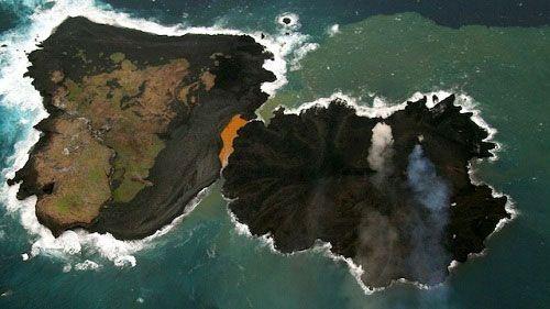 Остров Нисиносима увеличился в размерах